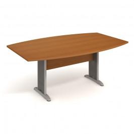 Stůl jednací sud 200 cm - Hobis Cross CJ 200 Dekor stolové desky: třešeň, Dekor lamino podnože: třešeň, Barva nohou: Stříbrná
