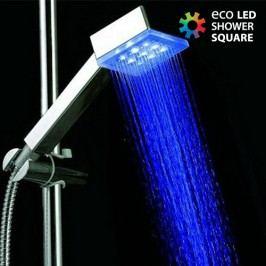 Čtvercová sprchová hlavice Eko s LED světlem