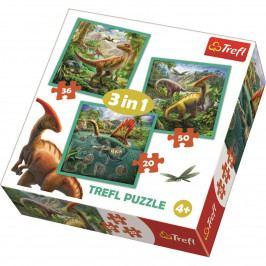 Puzzle TREFL Neobyčejný svět dinosaurů 3v1 20,36,50 dílků