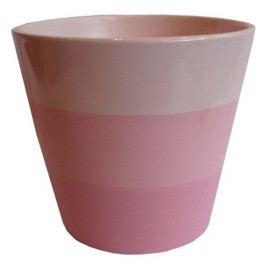 Keramický obal na květináč Stripes růžová, pr. 13,5 cm