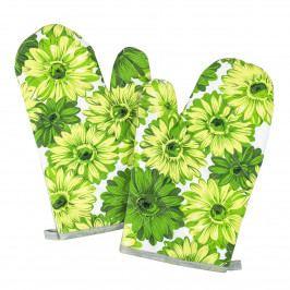Jahu Chňapka Květy zelená, 28 x 18 cm, sada 2 ks