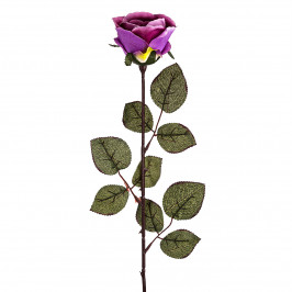 Umělá květina Růže velkokvětá 72 cm, fialová