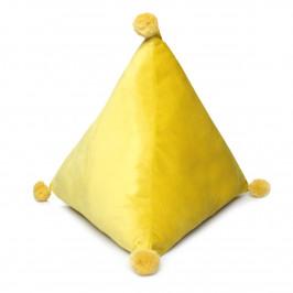 Domarex Polštář pyramida Trevi Velvet žlutá, 40 x 40 x 40 cm