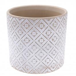 Keramický obal na květináč Ornamental bílá, pr. 13,5 cm