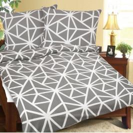 Bellatex Krepové povlečení Geometrie šedobílá, 140 x 220 cn, 70 x 90 cm, 140 x 220 cm, 70 x 90 cm