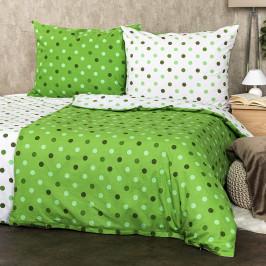4Home Bavlněné povlečení Puntíky zelená, 140 x 220 cm, 70 x 90 cm