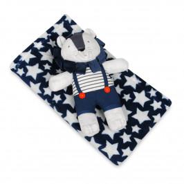 Babymatex Dětská deka modrá s hvězdami s plyšákem lev, 75 x 100 cm