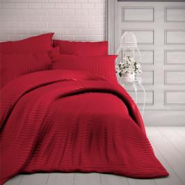 Kvalitex Saténové povlečení Stripe červená, 200 x 200 cm, 2 ks 70 x 90 cm