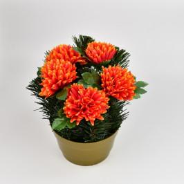 Dušičková dekorace s chryzantémami 23 cm, oranžová
