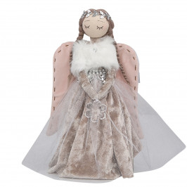 Altom Vánoční dekorace Sametový anděl, 30 cm