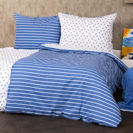 4Home Bavlněné povlečení Pruhy modrá, 160 x 200 cm, 70 x 80 cm