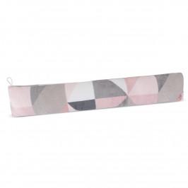 Bellatex Ozdobný těsnicí polštář LIN UNI Trojúhelníky růžová, 90 x 15 cm