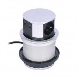 Solight Výsuvný prodlužovací blok se 3 zásuvkami a 2x USB, stříbrná