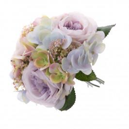 Umělá kytice růží a hortenzií Olivia, 28 cm