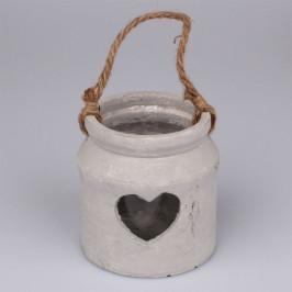 Betonový svícen Srdce, šedá, 10,5 x 11,5 cm