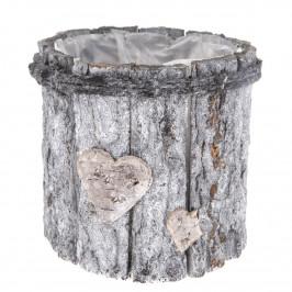 Dřevěný obal na květináč Srdce, šedá, 15 x 15 x 15 cm