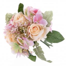 Umělá kytice růží a hortenzií Silvia, 28 cm
