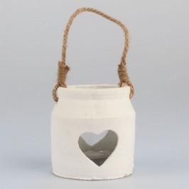 Betonový svícen Srdce, bílá, 10,5 x 11,5 cm
