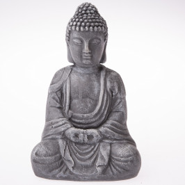 Betonová soška Buddhy, 13 x 20 cm, tm. šedá