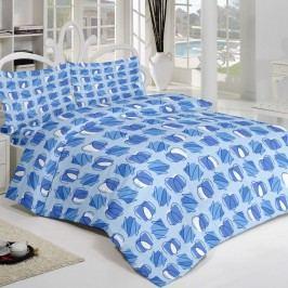 Krepové povlečení Squares modrá, 140 x 220 cm, 70 x 90 cm