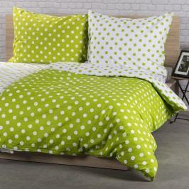 Bavlněné povlečení Zelený puntík, 160 x 200 cm, 2ks 70 x 80 cm