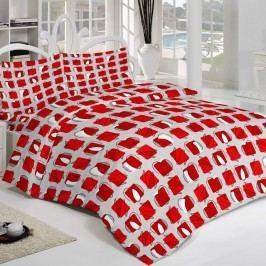 Krepové povlečení Squares červená, 220 x 200 cm, 2 ks 70 x 90 cm