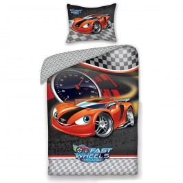 Halantex Dětské bavlněné povlečení Fast Wheel Club auto, 140 x 200, 70 x 90 cm