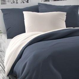 Saténové povlečení Luxury Collection bílá/tmavě šedá, 220 x 200 cm, 2 ks 70 x 90 cm