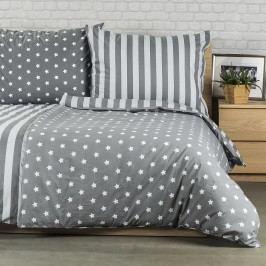 Bavlněné povlečení Stars šedá, 140 x 220 cm, 70 x 90 cm