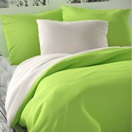 Saténové povlečení Luxury Collection bílá/světle zelená, 200 x 200 cm, 2 ks 70 x 90 cm