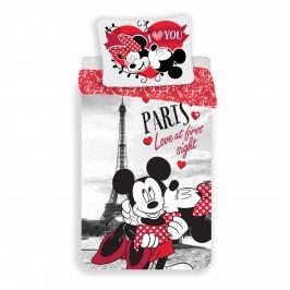Dětské bavlněné povlečení Mickey and Minnie I love you Paris, 140 x 200 cm, 70 x 90 cm