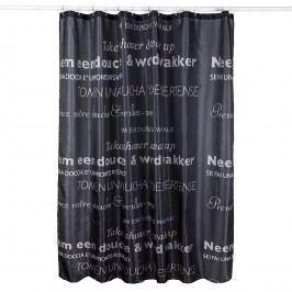 Koopman Sprchový závěs TEXT černá, 180 x 180 cm