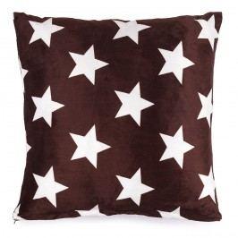 JAHU Polštářek mikroplyš Stars hnědá, 40 x 40 cm