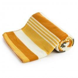 Fleecová deka Pruhy oranžová, 130 x 170 cm