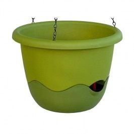 Samozavlažovací závěsný květináč Mareta, zelená, 30 cm, Plastia, pr. 30 cm