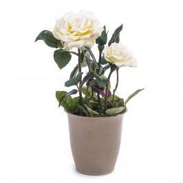 Umělá květina růže v květináči, smetanová, HTH