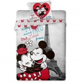 Jerry Fabrics Dětské bavlněné povlečení Mickey a Minnie in Paris 140x200 70x90