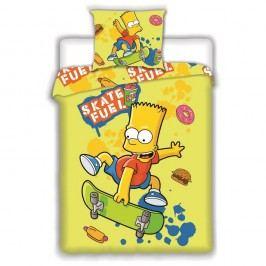 Jerry Fabrics Dětské bavlněné povlečení Bart Skate Yellow, 140 x 200 cm, 70 x 90 cm