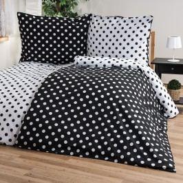 Bavlněné povlečení Černý puntík, 140 x 220 cm, 70 x 90 cm
