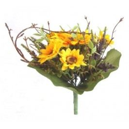 Umělá kytice slunečnice s levandulí, v. 22 cm