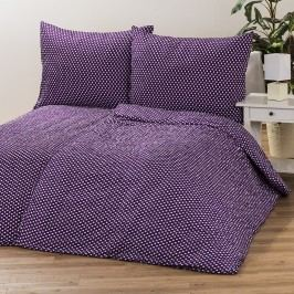 Jahu Krepové povlečení Pallas Puntík fialová, 140 x 200 cm, 70 x 90 cm