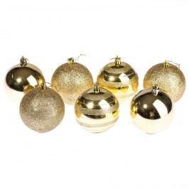 HTH Vánoční koule 7 ks zlatá pr. 8 cm