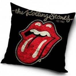 TipTrade Plyšový polštářek Rolling Stones Black, 40 x 40 cm