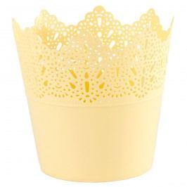 Plastový obal na květináč Krajka 11,5 cm, žlutá