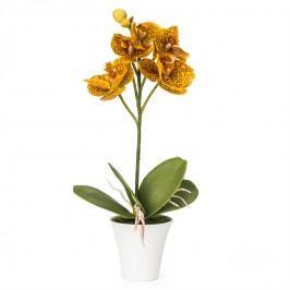 Umělá orchidea v květináči oranžová