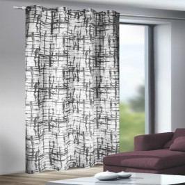 Závěs s kroužky Mesut bíločerná, 135 x 245 cm