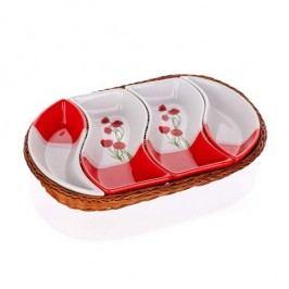 BANQUET Red Poppy servírovací misky v košíku 4 díly