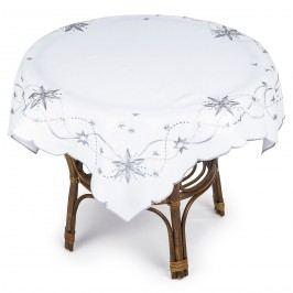 Bílý vánoční ubrus na kulatý stůl, vzor hvězdy