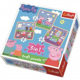 Puzzle Trefl 3v1 Prasátko Pepina Zábava ve škole 20 36 50 dílků