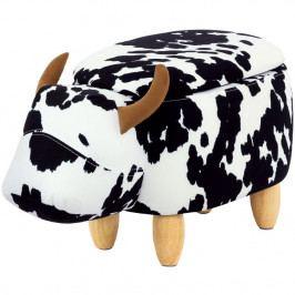 Autronic Taburet kráva s úložným prostorem, látka, masiv TAB-201